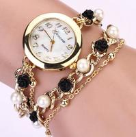 New Fashion rose and pearl Strap Watch Geneva Watches Women Dress Watches Quartz Wristwatch Clock relogios relojes XR464