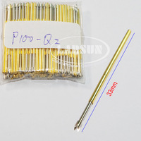 100pcs P100-Q2  Dia 1.36mm Length 33.35mm Spring Test Probe Pogo Pin  Full Stroke: 6.50mm