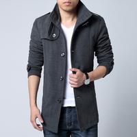 New arrival 2015 men's casual slim fit woolen winter coat overcoat thickened men's windbreaker mens pea coat 4 colors M-XXL