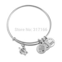 Expandable Bracelet Wire sea turtle Charm bangles