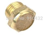 "10pcs/lot Brass 1/8"" BSPT Flat Head Pneumatic Muffler Install Easy SLM-01 Solenoid valve muffler"