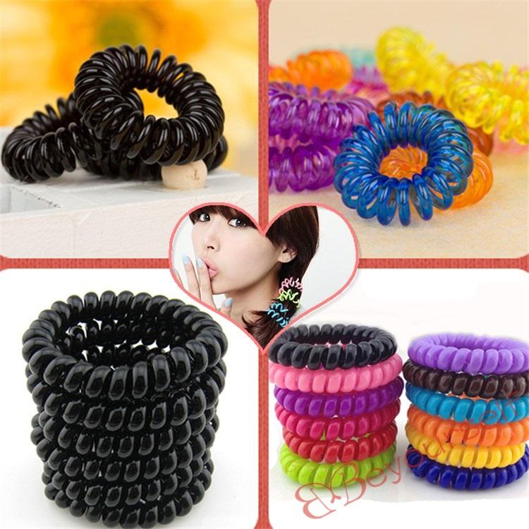 300pcs/lot S120-S121 Bulk Wholesale New Mixed Colors Random or Black Telephone Line Hair Bands Elastic Bobbles Ponioes 2.5cm(China (Mainland))