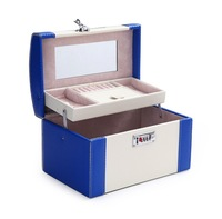 Wholesale!High quality pu leather jewelry organizer box,female professional cosmetic case,fashion make up case for gifts 6135