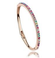 18K rose gold plated Crystal Charm Bangles Women Wedding Bridal Bracelet Bangle Fashion Jewelry (2- colors)