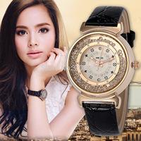 2015 Fashion Relojes Mujer Quartz Women Wristwatches Colorful Beautiful Rhinestone Leather Band Ladies Dress Watches