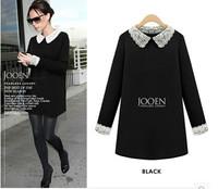 Autumn Winter Casual Women Dress 2015 New Fashion Lace Long Sleeve Ladies Casual Dresses Black Plus Size M-5XL
