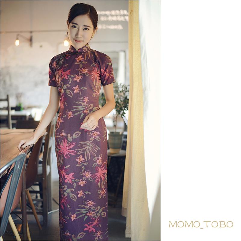 Momo cheongsam / December New flat shoulder sleeves short-sleeved linen dress buckle wholesale bust recalling Roland(China (Mainland))
