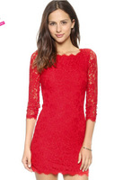 Fashion embroidered flowers hollow-out silk dress backless lace