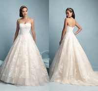 Exquisite Lace Crystals Beaded Gorgeous Long A Line Sweetheart Backless Bridal Wedding Dresses With Court Train Sleeveless 2015