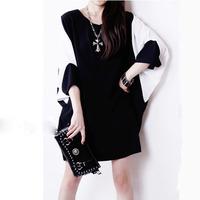 women mini dress 2015 spring fashion women Black  white bat sleeve loose chiffon dress female vesitido LJ279LMX free shipping