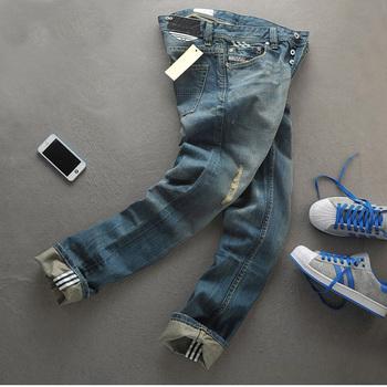 28-44 в 2015, последние доставка бесплатная доставка, широкий большой ярдов мужские джинсы новый мужской одежды ностальгические рваные джинсы мужчины