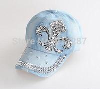 2015 Hot sale!MOQ=1PCS New Denim With Rhinestone Baseball Cap Fashion Women peaked Caps Sports Hats