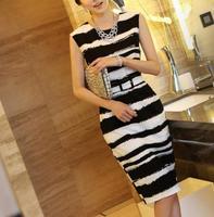 European brand women dress Fashion round neck sleeveless dress women Elegant striped dress for women
