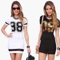 2015 Hot Slim Sexy Women Dress Summer Mini Casual Working Short Sleeve Printed Dress Baseball star model T-shirt Dress Tonsee
