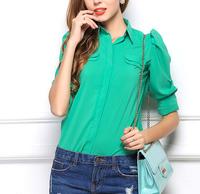 1 piece fashion Brand New plus size Casual Women Blouses Vintage style Polka Chiffon Blouses full Sleeve Lapel Shirts 2 colour