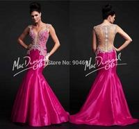 Sexy Mermaid Formal Dresses Deep V-Neck Applique Taffeta Floor-Length Prom Gowns ZY321