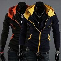 Top Design Mens Winter Fashion Slim Fit Sports Coat Double Collar Hooded Sweatshirt Cotton Zipper Casual Jacket Size L-XXL