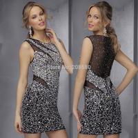 Vestidos Curtos Para Festa Sexy Crystal Cocktail Dresses for Party Short 2015 Handmade Women Transparent E6377