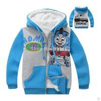 6 pcs/lot  boys hooded thick cashmere thomas full zipper hoodies / kids winter coat / children sports coat