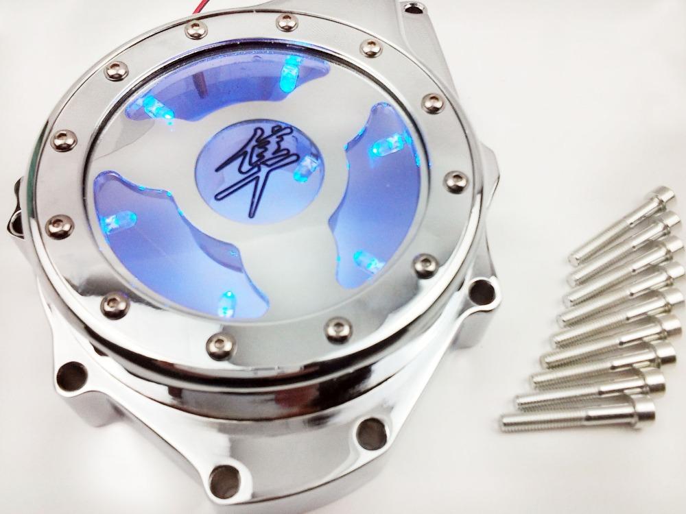 Peças da motocicleta LED azul ver através do motor do estator capa apto para Suzuki GSX1300R Hayabusa 1999 2000 2001 2002 2013 CD(China (Mainland))