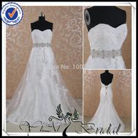RSW431 Suzhou Perfect Heavy Beaded Shiny Sash Long Tail Two Piece Wedding Dress