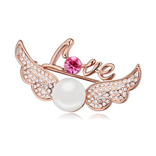 T111732 High quality pearl brooch Austria  Cupid Wings ( white + pink gold ) over $15 mixed order free shipping