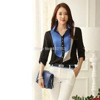 New Fashion Women Blusas Block Collar Medium-sleeve Chiffon Blouse Dark Blue#25381010