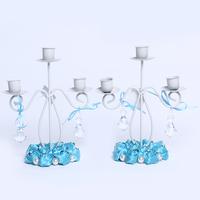 GAGA ! 3-light iron  blue stain handmade flowers candlestick decoration for bride shower  10 pcs/lot , XA100-2