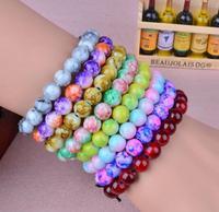 OMH wholesale 5 PCS 8 mm pink mix jewelry fashion glass beads men and women bracelet SZ18