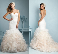 Ruffles Pleated New Elegant Designs Gown For Bride Sweetheart Off the Shoulder Backless Wedding Dresses Sleeveless Court Train