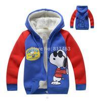 high quality boys hooded  cartoon thick cashmere full zipper hoody / children winter coat / fashion kids overcoat