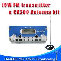 FMUSER FU-15A CZE-15A 15W FM  Stereo PLL broadcast transmitter with CA200 CAR SUCKER FM Antenna Power Supply