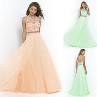 2015 New AB Crystal Two Piece Beaded Evening Dress Open Back Chiffon Long Graduation Dresses Vestido Longo De Renda TD057
