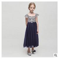 Wholesale Europe and America summer new girls flower jacquard dress girl lace princess dress 7pcs/lot