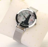 New Silver Stainless Steel Men Women Dress Watch Luxury  Clock female women dress Clock relogios relojes Fashion wristwatchXR497