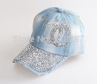 2015 Hot sale!MOQ=1PCS New Vintage Denim With Rhinestone Letters Baseball Cap Fashion Women peaked Caps And Hats