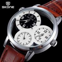 SKone Luxury Brand Casual Watch Brown Leather Strap 3 Dial Analog Quartz Wrist Watch Men's TOP Quality SKeleton Dress Watches
