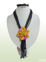 FZX221   Rose the latest design semi-precious stone necklace  bracelet set