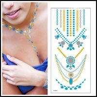 High Quality Golden Silver Blue DIY Choker Necklace Bracelets Metal Tattoo 5 pcs Flash Inspired Jewelry Tattoo Sticker