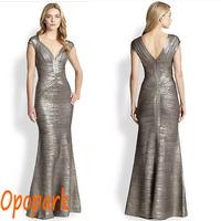 2015 women mermaid evening bandage dress silver black gold foil long floor length V neck cap sleeve trumpet formal elegant HL372