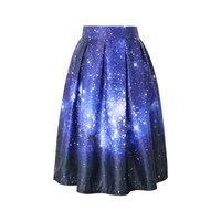 Women's Skirt New Fashion 2015 Spring Casual Starry Sky Painting Ball Gown Pleated High Waist Midi Skirt Women Skirt 141214