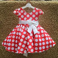 Retail New Princess Children V-neck dress short Bowknot red whit white Dot wedding kids party dress free shipping H-Dec24