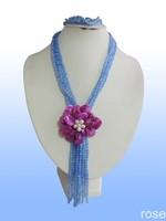 FFHY66  Rose the latest design semi-precious stone necklace  bracelet set