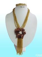 FEDC743  Rose the latest design semi-precious stone necklace  bracelet set