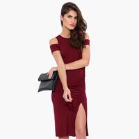 European Style Women Tank Top Dress  Short Sleeves Slim Waist  Creases Dress slits Dew shoulder  Hot Sale  D658