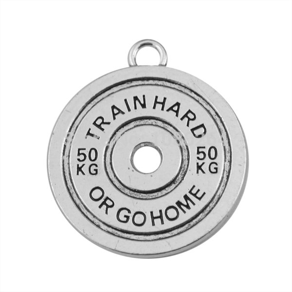 50 pieces/lot Metal Antique silver toned Double-sided Fitness TRAIN HARD 50KG OR GO HOME BBMAN BARBELL Gym Pendant(China (Mainland))