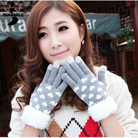 New 2014 Warm Winter Gloves Touch screen love cartoon women's gloves knitting striped Five fingers Mitterns