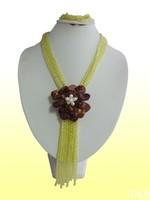 FFFD552  Rose the latest design semi-precious stone necklace  bracelet set