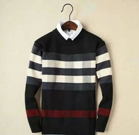 Hot New 2014 Men Fashion Brand Winter Warm Cashmere Sweater/High Quality England Pullover Stripe Sweaters S150012 Size M-XXL