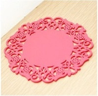 10 Pieces/Set Spinning  Vinyl Record Drinks Coasters / Vinyl Coaster Cup Mat Rose Red